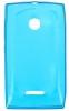 Силиконовый чехол для Microsoft Lumia 435 TPU 0.5мм Голубой глянцевый