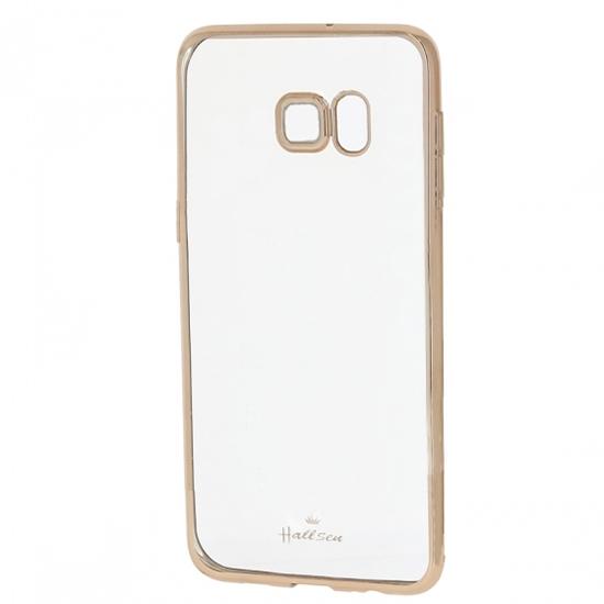 Hallsen Силиконовый чехол для Samsung Galaxy S6 Edge+ SM-G928F прозрачный с золотыми краями