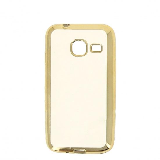Hallsen Силиконовый чехол для Samsung Galaxy J1 mini SM-J105H (2016) Прозрачный с золотыми краями