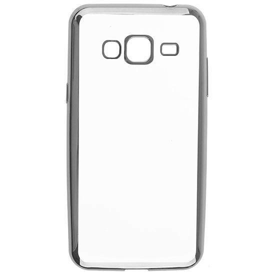 Skinbox Силиконовый чехол для Samsung Galaxy J3 (2016) Silicone Chrome Border 4People Темно серебряный