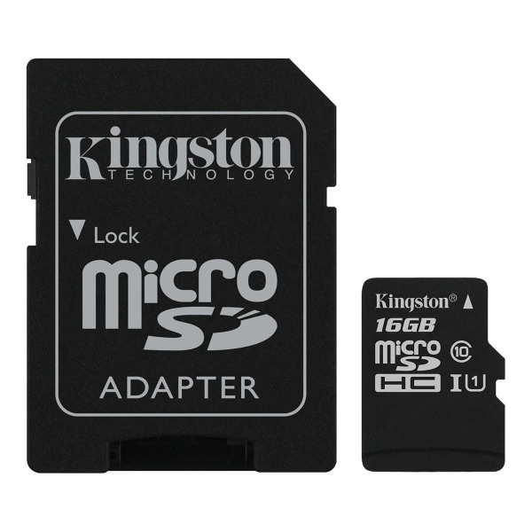 Карта памяти Kingston Canvas Select microSDXC Class 10 UHS-I U1 16Gb + SD adapter