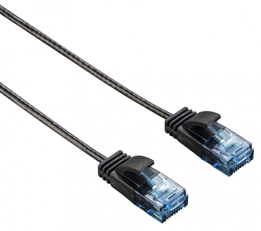 Патч-корд Hama Slim Flexible UTP 0.75м RJ 45 m Черный