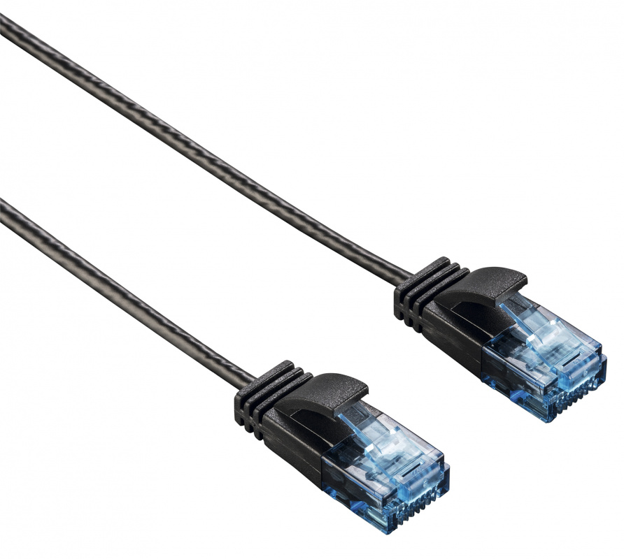 Патч-корд Hama Slim Flexible UTP 1.5м RJ 45 m Черный