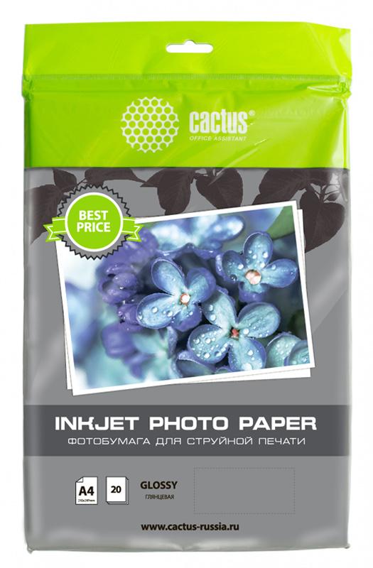 Фото - Фотобумага Cactus CS-GA413020ED A4 130г м2 20л. белый глянцевое для струйной печати бумага cactus cs gsa413020 cs ga413020 а4 130г кв м глянцевая 20л