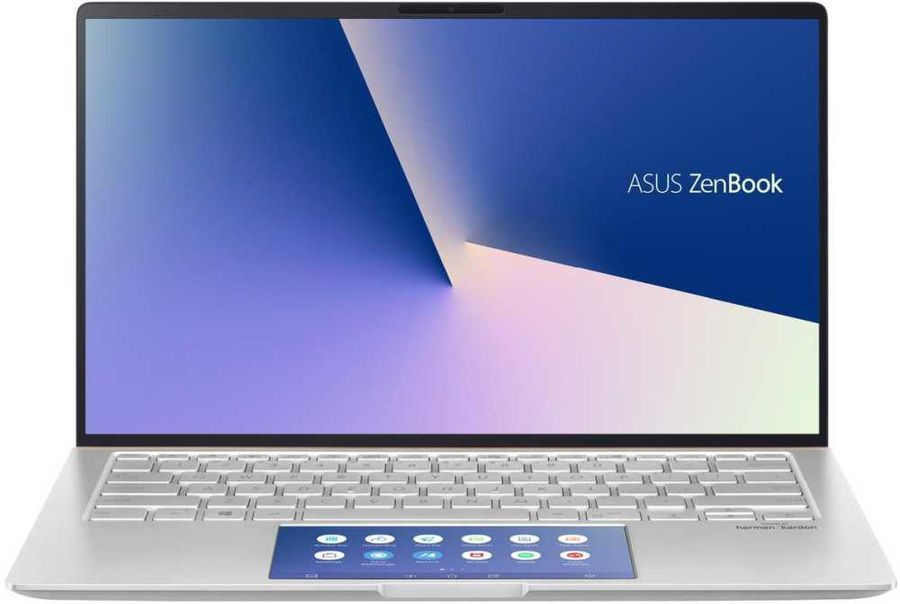 "Ноутбук Asus Zenbook UX434FAC-A5398R Core i7 10510U 16Gb SSD1Tb Intel UHD Graphics 620 14"" IPS FHD (1920x1080) Windows 10 Professional 64 silver WiFi BT Cam Bag"