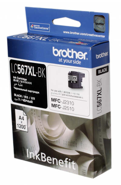 Картридж Brother струйный LC567XLBK черный (1200стр.) для MFC-J2510 картридж струйный brother lc567xlbk