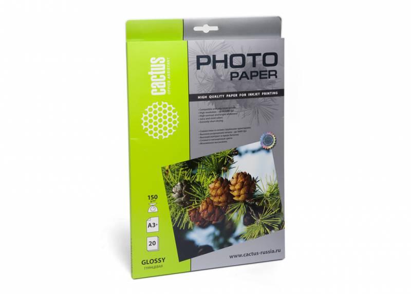 Фото - Фотобумага Cactus CS-GA315020 A3+ 150г м2 20л. белый глянцевое для струйной печати бумага cactus cs gsa413020 cs ga413020 а4 130г кв м глянцевая 20л