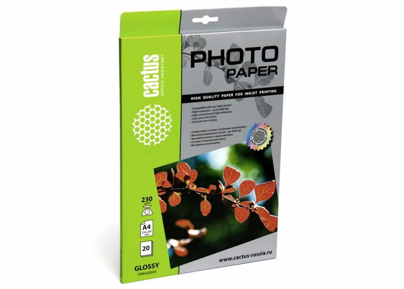 Фото - Фотобумага Cactus CS-GA423020 A4 230г м2 20л. белый глянцевое для струйной печати бумага cactus cs gsa413020 cs ga413020 а4 130г кв м глянцевая 20л