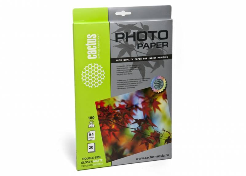 Фото - Фотобумага Cactus CS-GMA418020 A4 180г м2 20л. белый глянцевое матовое для струйной печати бумага cactus cs gsa413020 cs ga413020 а4 130г кв м глянцевая 20л