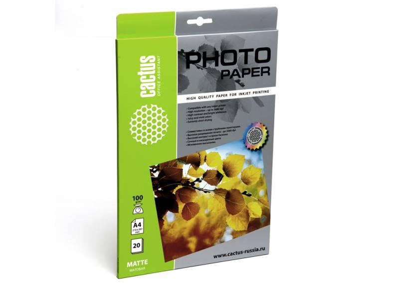 Фото - Фотобумага Cactus CS-MA410020 A4 100г м2 20л. белый матовое для струйной печати бумага cactus cs gsa413020 cs ga413020 а4 130г кв м глянцевая 20л