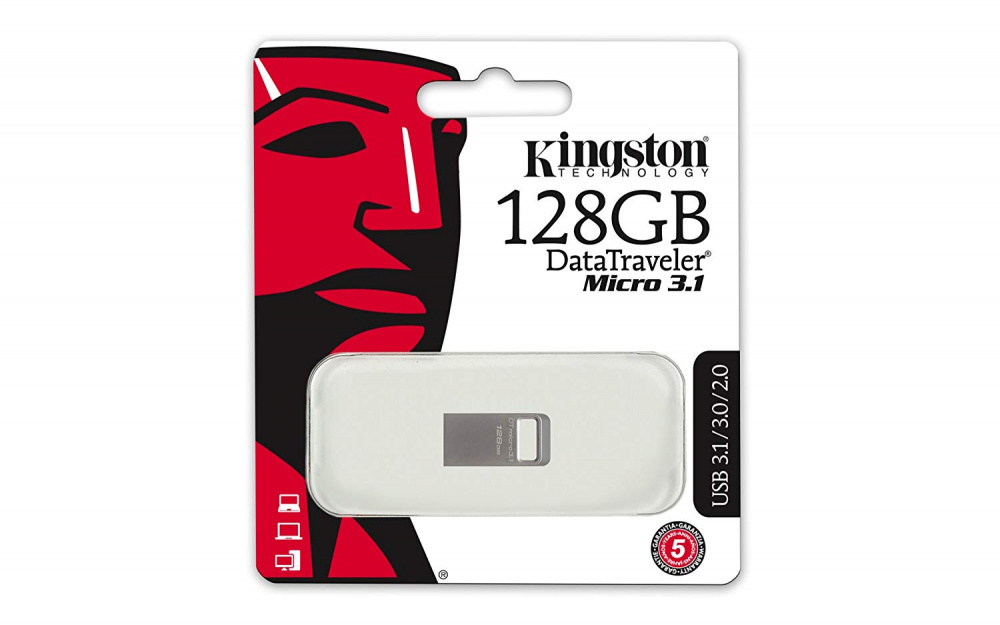 Флешка Kingston DataTraveler Micro DTMC3 128Gb Серебристая